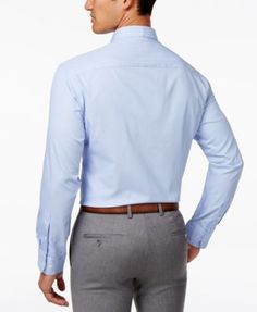 Alfani Men's Classic Fit Performance Twill Textured Dress Shirt, Only at Macy's - Blue 16-16 1/2 32-33