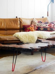 hairpin legs and natural wood