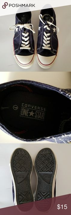 Converse One Star sneakers Red white and blue converse one star sneakers. Worn once. Small mark as seen on photo. Converse Shoes Sneakers