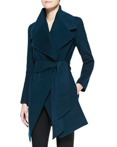 Self-Belted Cashmere Wrap Coat by Donna Karan at Neiman Marcus.