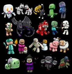 There is a game I play called minecraft its realy fun and these are the creatures from the game (the little blue spider on the big black spider's back is my favourite creature.