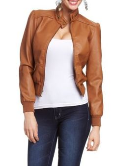 2B Tiffany Zip Collar Leatherette Jacket 2b Jackets Camel-s 2b by bebe. $34.95