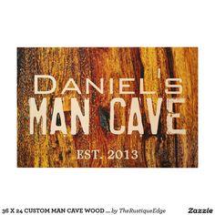 36 X 24 CUSTOM MAN CAVE WOOD WALL ART SIGN