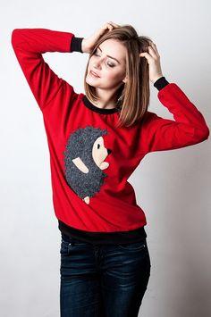 red sweater warm sweater hedgehog sweater animal by Ecattus