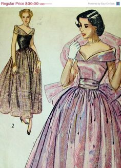 ON SALE Simplicity 2964 Vintage Pattern 1949 new look Prom dress Bust 32 1940s 1950s on Etsy, $27.00