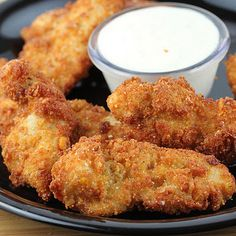 Ranch Chicken Strips Recipe - Use pork rinds instead of corn flakes