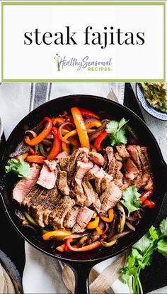 "Some words that come to mind to describe these easy Steak Fajitas are ""amazing"" ""delicious"" and ""scrumptious!"" And that's just a few. They also happen to be fast. [They're ready in 35 minutes flat!] Not to mention the fact that they are so flavorful, thanks to a simple spice blend that seasons both the beef and the sauteed peppers and onions. #steakfajitas #mexicanfood #steakrecipes #peppersandonions"