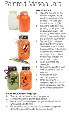 Cute craft idea!  How to Make a Painted Mason Jar - from CTW Home Collection