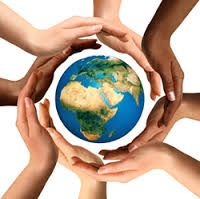 Conceptual symbol of multiracial human hands surrounding the Earth globe. Unity, world peace, humanity concept. Free art print of Multiracial Hands Surrounding the Earth Globe. We Are The World, Our World, Change The World, Earth Month, Earth Day, Planet Earth, Letra Drop Cap, Be Kind To Everyone, We Are All Connected