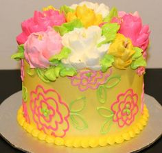 Happy yellow buttercream cake by The White Flower Cake Shoppe