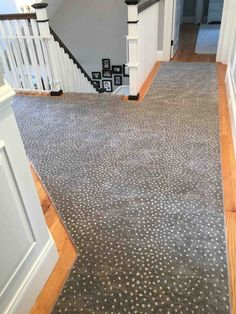 This is a deerfield animal print hallway and stair runner. Which took precise fa. This is a deerfield animal print hallway and stair runner. Which took precise fabrication to fit ea Stairway Carpet, Tiled Staircase, Staircase Runner, Stair Railing, Staircase Design, Stair Runners, Railings, Bungalow Interiors, Outdoor Doors