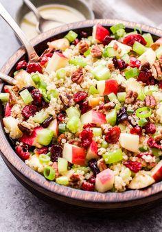 Cranberry Apple Quinoa Salad in wooden bowl with serving spoons. Small bowl of vinaigrette behind the salad. Perfect Quinoa, Quinoa Salad Recipes, Quinoa Recipe, Clean Eating, Healthy Eating, Strawberry Spinach, Cooking Recipes, Healthy Recipes, Fall Recipes