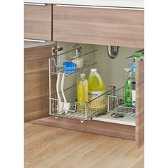 This sliding undersink organizer is a great addition to any kitchen, bathroom, or storage area. Add these under your sink or wider cabinet and get instant pull-out access to your items. This organizer will help maximize storage space in areas where your plumbing may create an awkward space, and gain convenience, accessibility, and visibility to all your items. One pair of slides is included and all hardware is provided for mounting under your sink, in a cabinet, or on a wire shelf.
