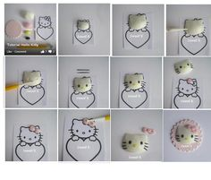 step by step. Tutorial on how to make a Hello Kitty using fondant. Cookie Tutorials, Cake Decorating Tutorials, Cookie Decorating, Hello Kitty Cake, Hello Kitty Birthday, Fondant Toppers, Fondant Cakes, Fondant Bow, Fondant Flowers