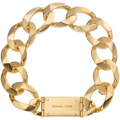 Chain-Link Collar Necklace, Golden - Michael Kors ($295) ❤ liked on Polyvore featuring jewelry, necklaces, accessories, bracelets, chains, michael kors, chain link necklaces, chain link jewelry, golden necklace and chain necklace