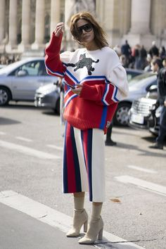 Christine Centenera wearing Gucci at Paris Fashion Week