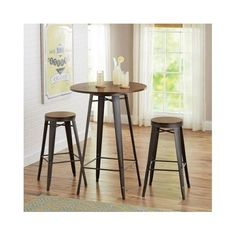 Round-Pub-Table-Set-3-Piece-Bistro-Bar-Stools-Chairs-Kitchen-Dining-Furniture