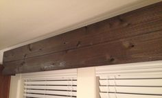 How to Create a DIY Rustic Wood Valance (Tutorial) - Hick Country™ DONE in living room Wood Valances For Windows, Kitchen Window Coverings, Wood Windows, Rustic Valances, Window Valances, Wood Cornice, Cornice Boards, Valance Tutorial, Hickory House