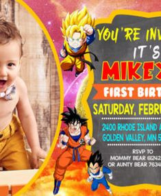 Dragon Ball Z Birthday Invitations Dall Anniversary Party