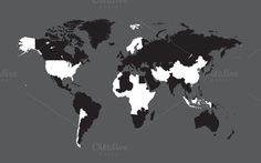 World map with countries black by ralelav on @creativemarket