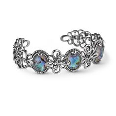 Carolyn Pollack Jewelry //  Sterling Silver and Abalone Doublet Cuff Bracelet