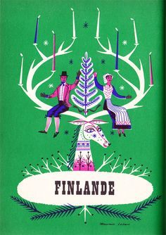 Vintage Poster - travel illustration of Finland by Maurice Laban. Look Vintage, Vintage Prints, Graphic Design Illustration, Illustration Art, Vintage Illustrations, Posters Canada, Folklore, Tourism Poster, Retro Poster