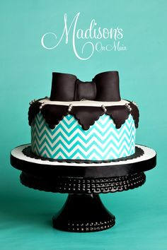 Chevron bowtie themed baby shower cake for a little boy to be!  I really loved making this one.  So sweet. my-cakes-and-cupcakes