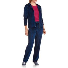 NYC Alliance Women's Velour Tracksuit Set with Hoodie, Size: XL, Blue