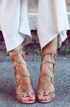 Nude lace up heels fashion trend