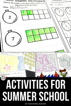 Are you looking for fun and engaging activities to use throughout summer school with your students? Get all of your ESY centers planned and ready to go with this bundle of activities that your students will love. Summer School Activities, End Of Year Activities, Autism Activities, Kindergarten Lesson Plans, Kindergarten Classroom, Autism Classroom, Autism Teaching, Special Education Classroom, Students