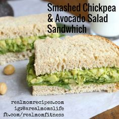 clean eating...smashed chick pea and avocado salad sandwhich