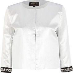 Silver embellished trim boxy jacket ?75.00