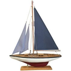 Nautical Sail Boat Model -  Red & Blue (€84) ❤ liked on Polyvore featuring home, home decor, decor, nautical, blue, home accessories, decorative objects, nautical home accessories, blue home accessories and nautical theme home decor