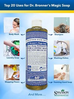 Bronner's Uses: Top 20 Castile Soap Uses uses for dr bronners liquid castile soap House Cleaning Tips, Diy Cleaning Products, Cleaning Solutions, Spring Cleaning, Cleaning Hacks, Diy Hacks, Makeup Products, Cleaning Supplies, All Natural Cleaning Products