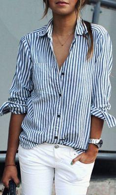Blue Stripe Pocket Detail Long Sleeve Shirt
