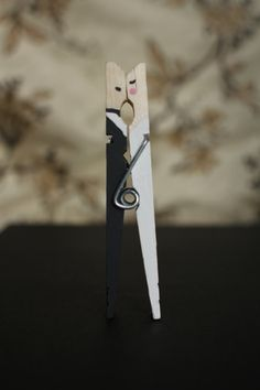 Clothespin Kissing Bride and Groom
