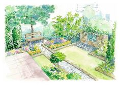 Precise lawn panels add interest to a small rectangular garden.