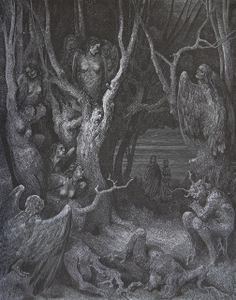 Gustave Doré - La Divina Commedia-L'Inferno-The Harpies' Wood