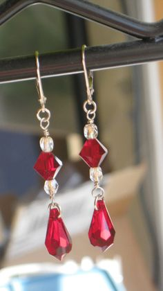Swarovski Gold and Red Dangles by 310jewelry on Etsy, $32.00