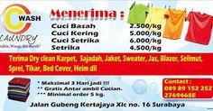 Spesialis laundry surabaya. info : 08989152252, Pin Bbm : 2769468e Free delivery !!! KILAT 8 JAM SELESAI!!!