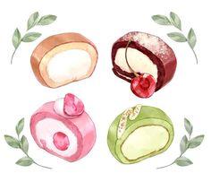 Cute Food Art, Cute Art, Cute Animal Drawings Kawaii, Cute Drawings, Dessert Illustration, Illustration Art, Desserts Drawing, Food Doodles, Food Sketch