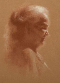 "Susan Lyon ~ ""Navajo Grandmother"" ~ pastel with white chalk"