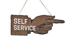 Vintage Store Sign / Self Service Sign / Two-Sided Hand Painted Sign. $90.00, via Etsy.