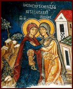The Meeting of the Most Holy Theotokos and Saint Elizabeth. ~ Beautiful wall painting from Timios Stavros (Holy Cross) Church, 14th century - Pelendri village in Limassol area, south east of Kato Amiantos village near Saittas, Cyprus