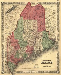 Antique Map of Maine. New York.