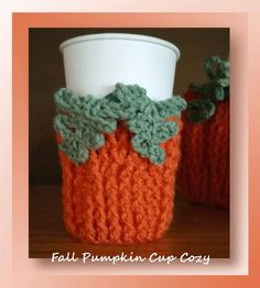 Fall Pumpkin Cup Cozy Would you like to crochet this pumpkin cup cozy for fall? If so, which is your favorite specialty coffee or tea? Crochet Coffee Cozy, Coffee Cup Cozy, Crochet Cozy, Crochet Fall, Halloween Crochet, Holiday Crochet, Crochet Crafts, Free Crochet, Crochet Projects