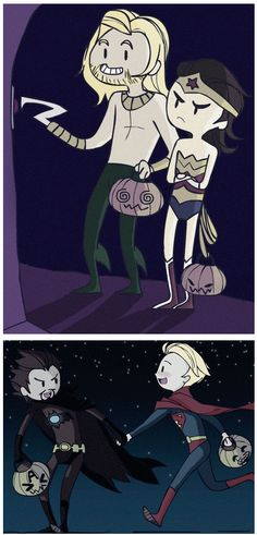 Avengers & Loki, trick-or-treating. it's funny that Thor is aquaman (I think)