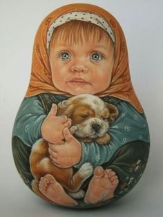 Author's 1 kind russian roly poly nesting like reborn baby dolls Artist Usachova Russian Painting, Russian Art, Matryoshka Doll, Kokeshi Dolls, Doll Painting, Gourd Art, Wooden Dolls, Reborn Baby Dolls, Beautiful Dolls