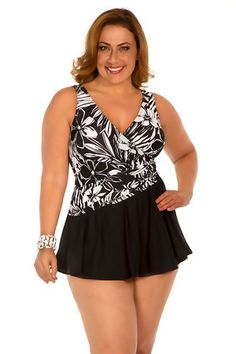 696fc92afe Miraclesuit Women s Plus Size Skirted One Piece Plunge Swimsuit Aurora  skirted one piece surplice offers soft cups and tummy control.
