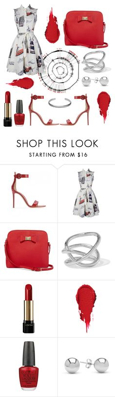 """Red"" by chclaudia ❤ liked on Polyvore featuring Gianvito Rossi, Liz Claiborne, Jennifer Fisher, Lancôme, OPI, Jewelonfire and Maison Margiela"